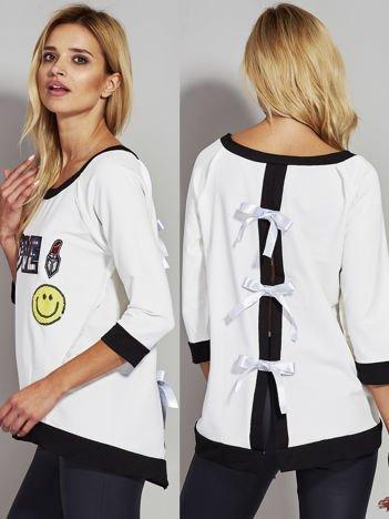 Ecru bluza z cekinowym napisem LOVE i kokardami z tyłu