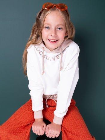 Ecru bluza z kapturem dla dziewczynki