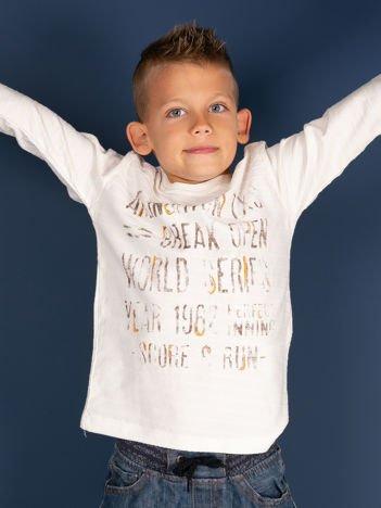 Ecru bluzka dla chłopca z nadrukiem tekstowym