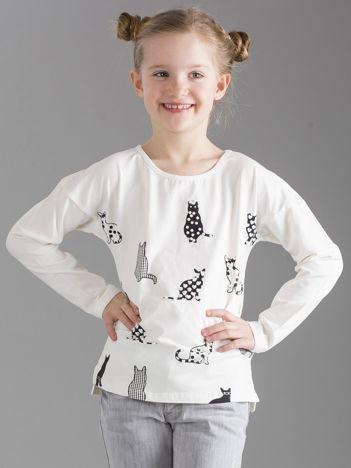 Ecru bluzka dla dziewczynki w koty