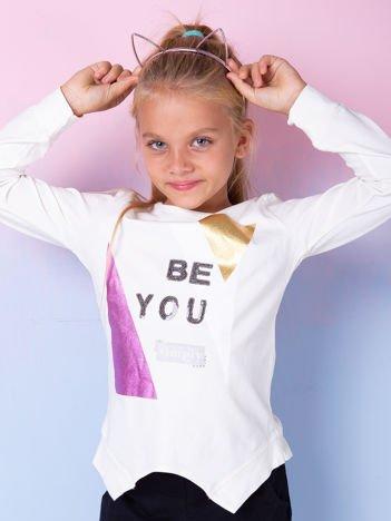 Ecru bluzka dla dziewczynki z geometrycznym nadrukiem i cekinami