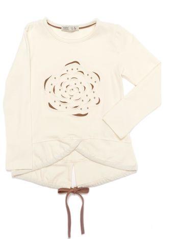Ecru bluzka dla dziewczynki z wypukłym kwiatem
