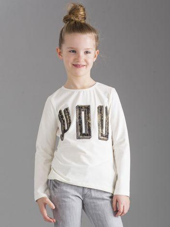 Ecru bluzka dziewczęca z aplikacją