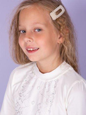Ecru bluzka dziewczęca z koronką i guzikami
