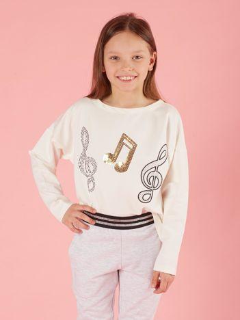Ecru bluzka dziewczęca z muzyczną aplikacją