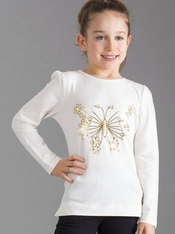 Ecru bluzka dziewczęca z perełkami