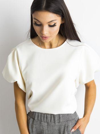 c15389c16e Ecru bluzka z bufiastymi rękawami