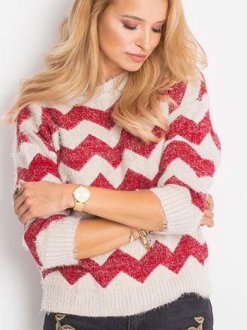 Ecru-bordowy sweter Geometric