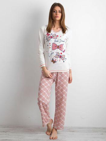 Ecru-czerwona piżama damska z nadrukiem