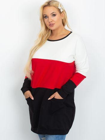Ecru-czerwona tunika plus size Bease