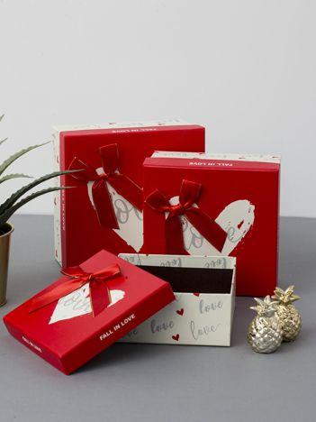 Ecru-czerwony zestaw pudełek dekoracyjnych