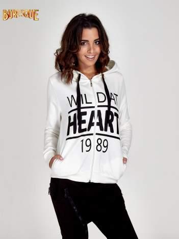 Ecru damska bluza z kapturem i napisem WILD AT HEART 1989