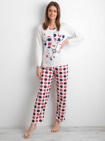 Ecru damska piżama z nadrukiem