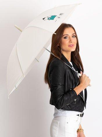 Ecru damski parasol z nadrukiem