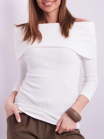 Ecru dopasowana bluzka w prążek z odkrytymi ramionami