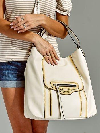 Ecru duża torba z ozdobną kieszenią