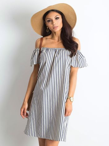 Ecru-granatowa sukienka Playa