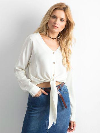 Ecru krótka bluzka koszulowa z wiązaniem