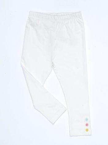 Ecru legginsy dla dziewczynki z kolorowymi guzikami