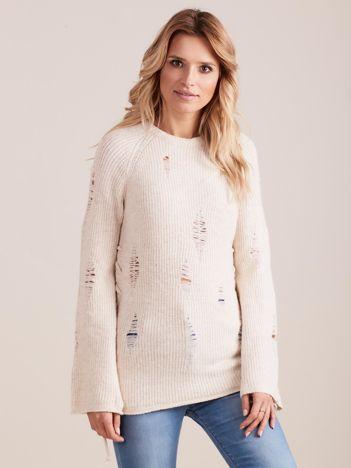 Ecru luźny sweter ze sznurowaniem i szerokimi rękawami