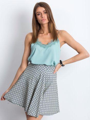 Ecru-niebieska spódnica Shiny