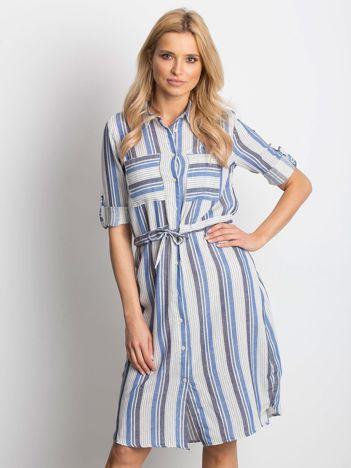 Ecru-niebieska sukienka Versatile