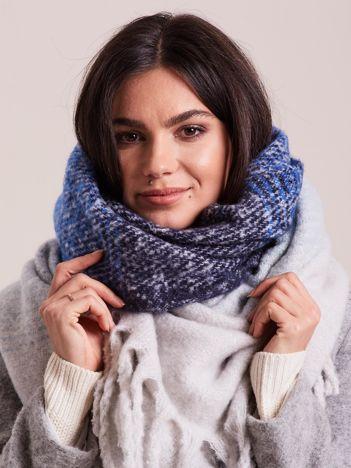 Ecru-niebieski szal damski zimowy