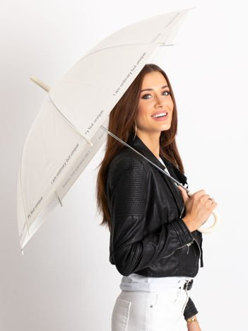 Ecru parasol z napisem
