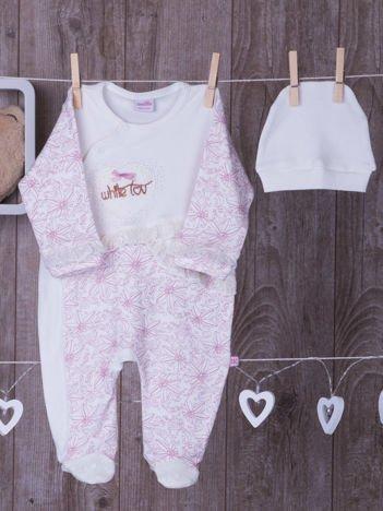 Ecru-różowy pajacyk niemowlęcy z czapeczką