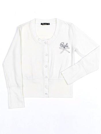 Ecru rozpinany sweter dla dziewczynki na guziki