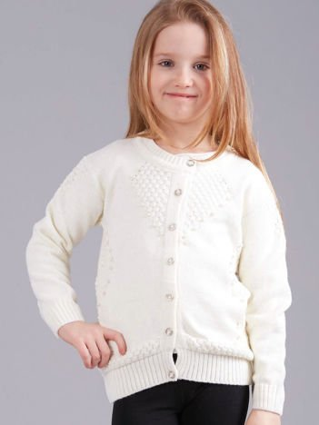Ecru rozpinany sweter dziewczęcy z perełkami