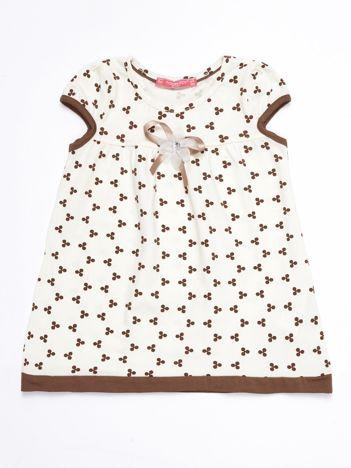Ecru sukienka dziecięca z nadrukiem all over