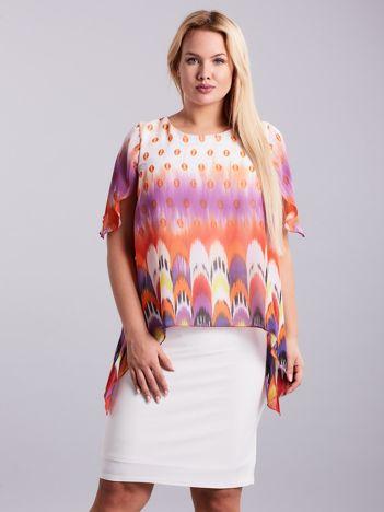 Ecru sukienka w kolorowe wzory PLUS SIZE