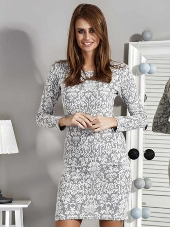 Ecru sukienka w ornamentowy wzór