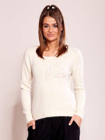 Ecru sweter damski z cekinami