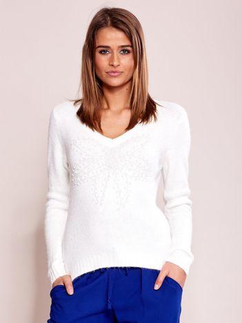 Ecru sweter z koralikami