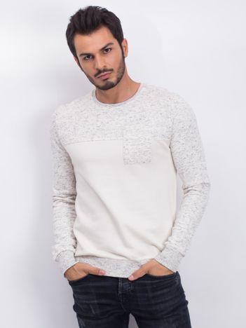Ecru-szara bawełniana bluza męska z kieszenią