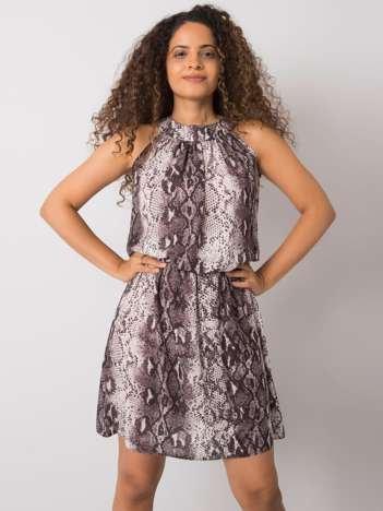 Ecru-szara sukienka w zwierzęce wzory Adara RUE PARIS