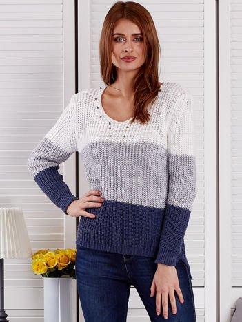 Ecru-szary sweter z perełkami
