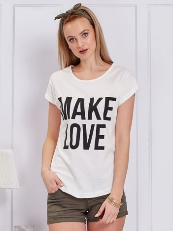 Ecru t-shirt MAKE LOVE