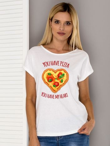 Ecru t-shirt YOU HAVE PIZZA YOU HAVE MY HEART