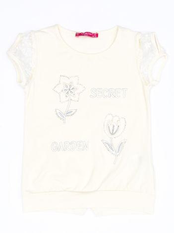 Ecru t-shirt dla dziewczynki z kwiatami