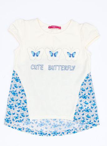 Ecru t-shirt dla dziewczynki z nadrukiem motyli