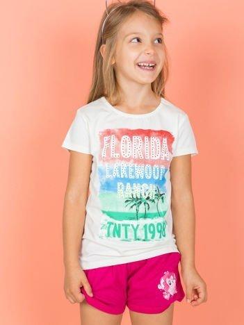 Ecru t-shirt dla dziewczynki z napisami