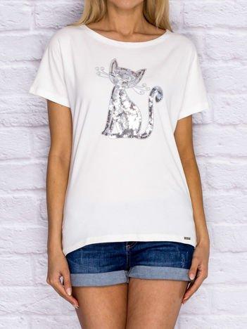 Ecru t-shirt z cekinowym kotem