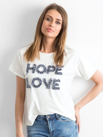 Ecru t-shirt z wypukłym napisem