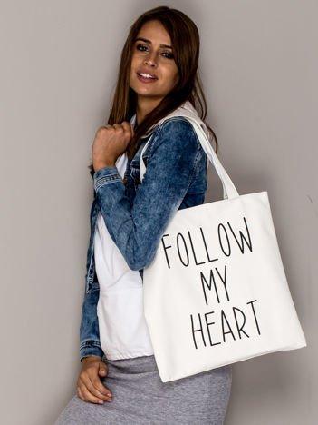 Ecru torba materiałowa FOLLOW MY HEART
