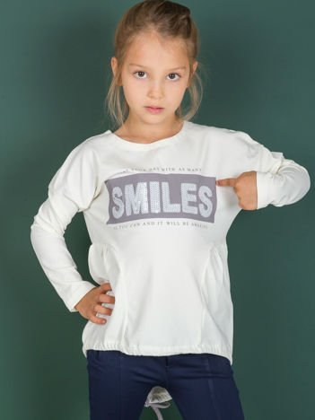 Ecru tunika dla dziewczynki z cekinowym napisem