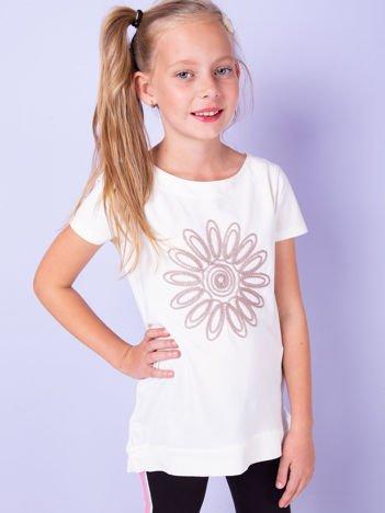 Ecru tunika dla dziewczynki z kwiatem