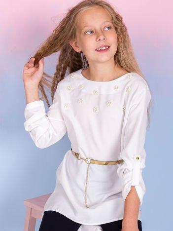 Ecru tunika dla dziewczynki z perełkami